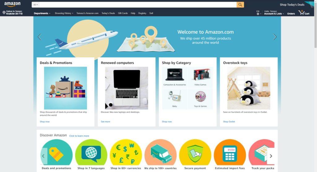 Amazon to największy sklep internetowy na świecie z dostęp do klientów z USA