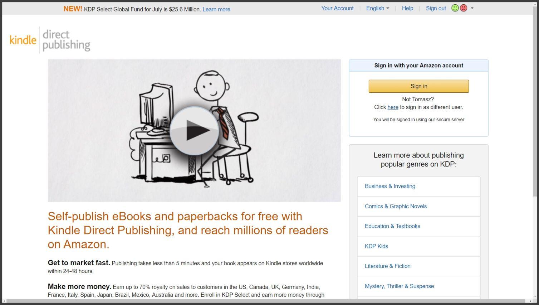 Kindle Direct Publishing to portal dla wydawców książek papierowych i eBooków na Amazonie