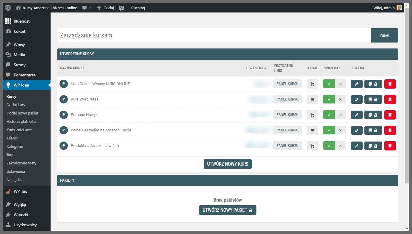 Platforma do kursów online WpIdea i WordPress