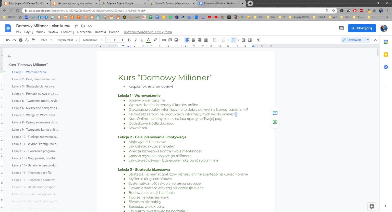 Przykładowy plan nagrywania jednego z moich kursów online