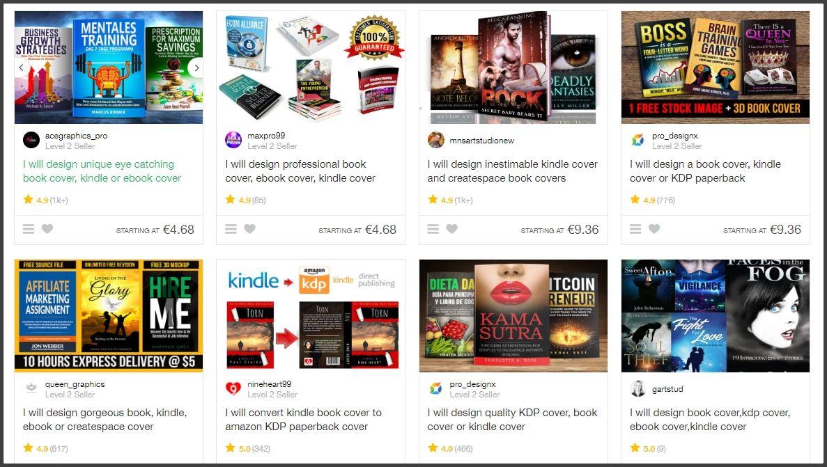 """Fiverr i przykładowe oferty sprzedawców dla zapytania """"kindle book cover"""""""