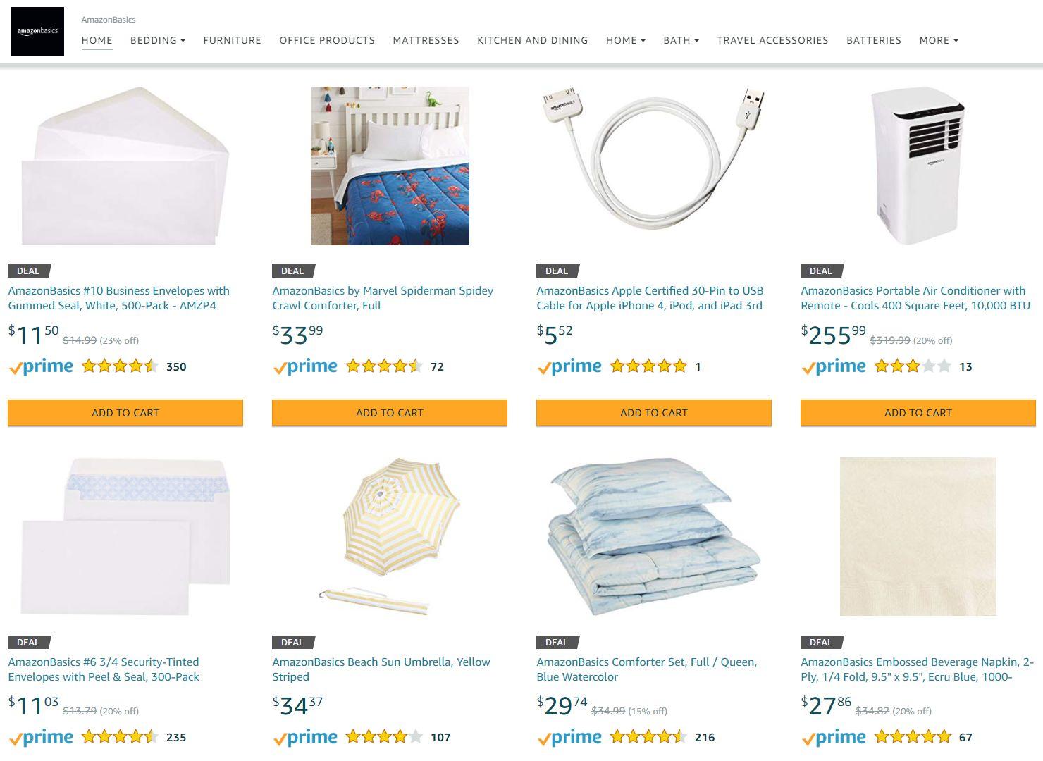 Amazon Basics, czyli produkty sprzedawane bezpośrednie przez Amazona ma jego platformie