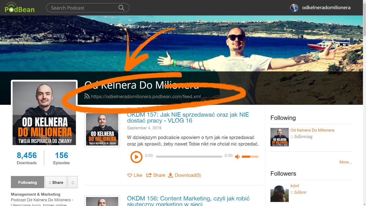 Główny link kanału RSS, który należy umieścić w zewnętrznych serwisach takich jak Spotify, iTunes itd.