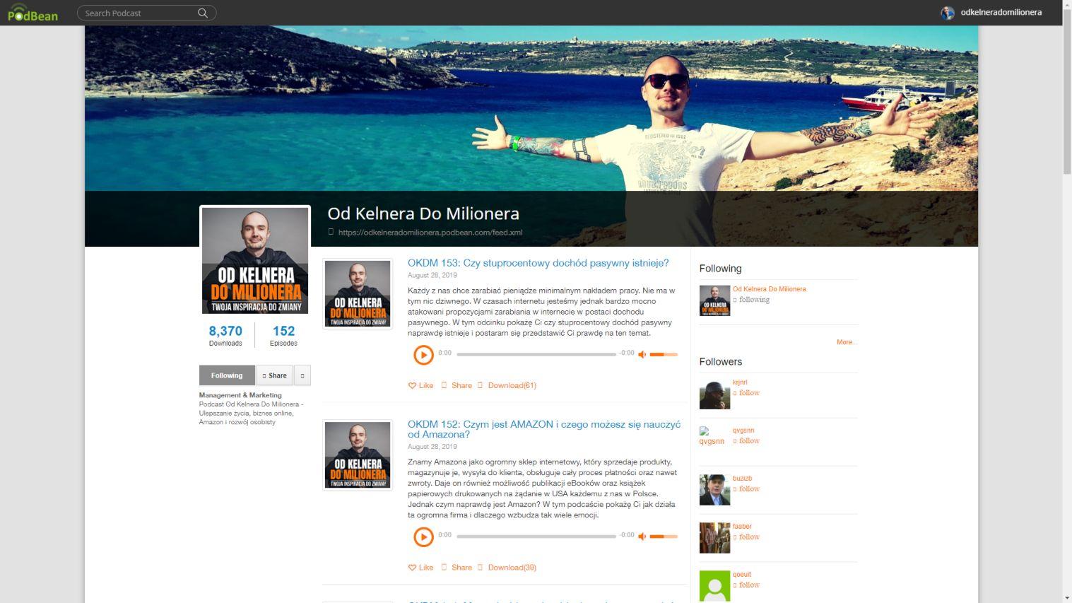 Mój profil w serwisie Podbean