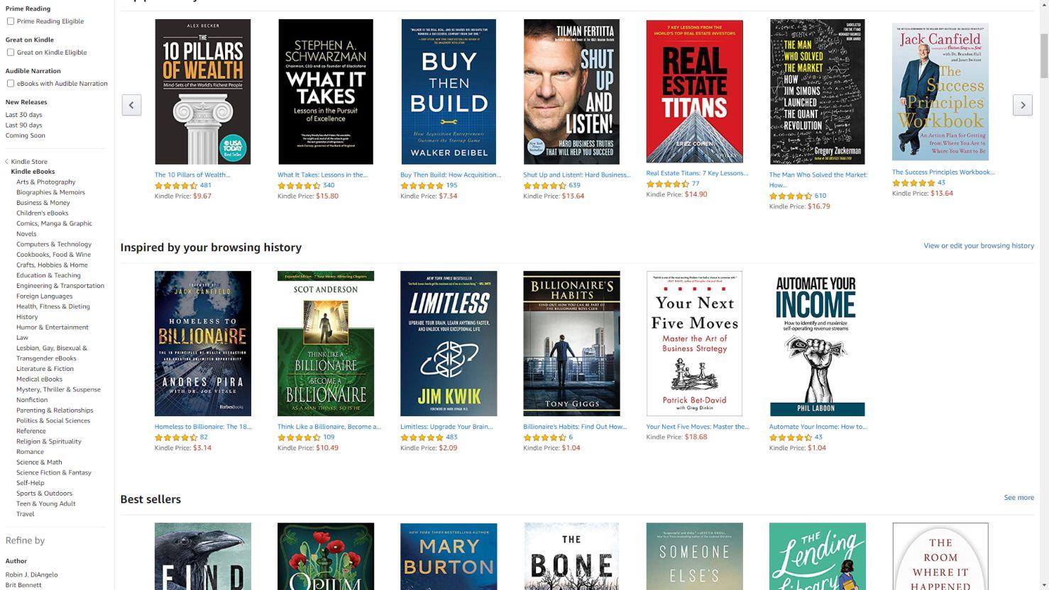 Kategorie książek oraz bestsellery w Kindle Store