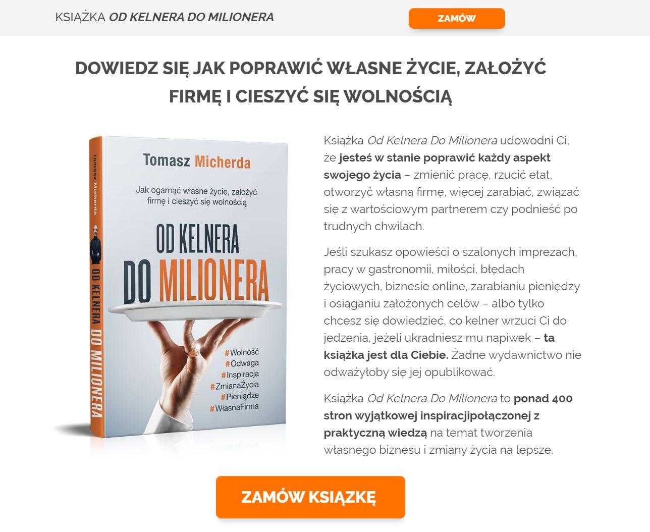 Strona sprzedażowa dla książki Od Kelnera Do Milionera