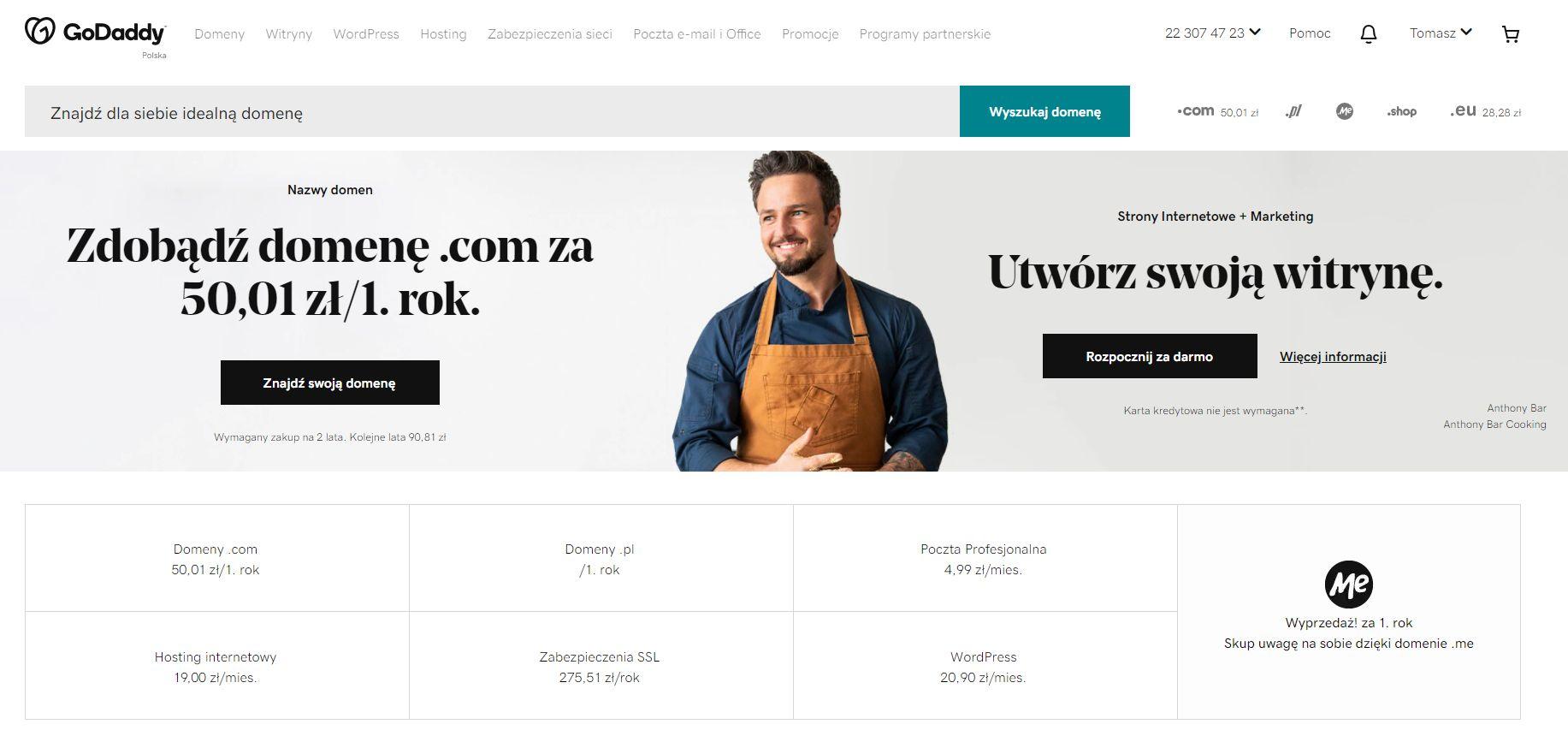 Inwestowanie w domeny - portal GoDaddy