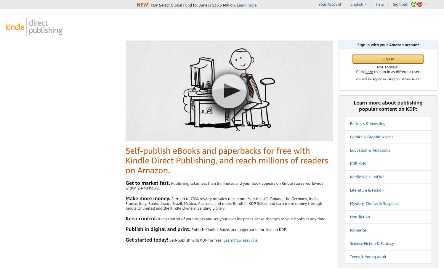 Amazon KDP - widok panelu